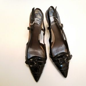 Burberry Quilted Patent Leather Slingback Heels